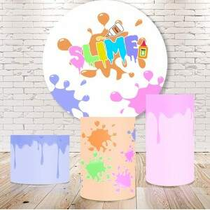 Kit Slime: painel redondo+cilindros sublimados + opcional 10 itens mesa