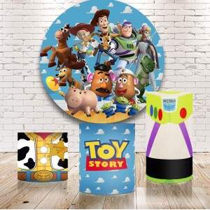 Kit Toy Story: painel redondo+cilindros sublimados + opcional 10 itens mesa