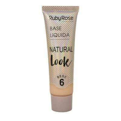 BASE LÍQUIDA NATURAL LOOK RUBY ROSE - BEGE 6
