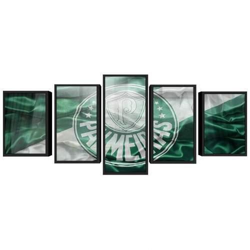 Quadro Decorativo 5 telas Tecido Canvas Esportes Palmeiras 15