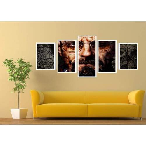 Quadro Decorativo 5 telas Tecido Canvas Filmes e series breaking bad 24