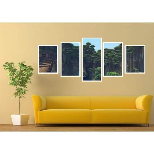 Quadro Decorativo 5 telas Tecido Canvas Games Minecraft 18