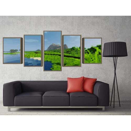 Quadro Decorativo 5 telas Tecido Canvas Games Minecraft 20