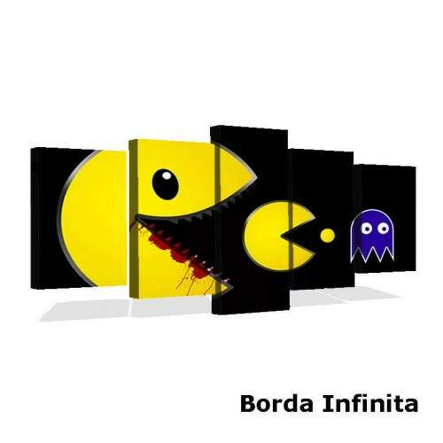 Quadro Decorativo 5 telas Tecido Canvas Games Pac man 20