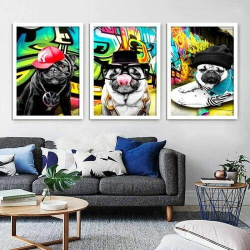 Quadro Decorativo canvas Cachorro PUG Gangster rapper 03 telas