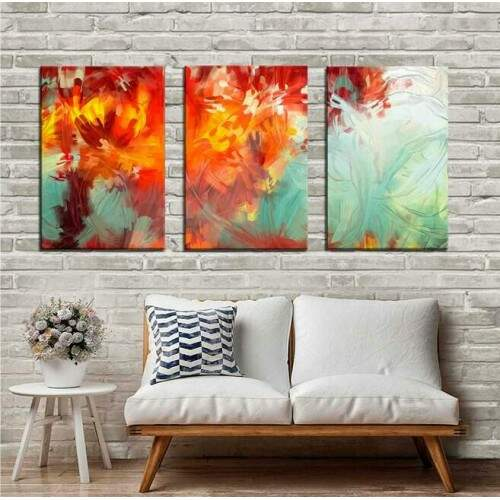 Quadro decorativo 3 telas Aquarela