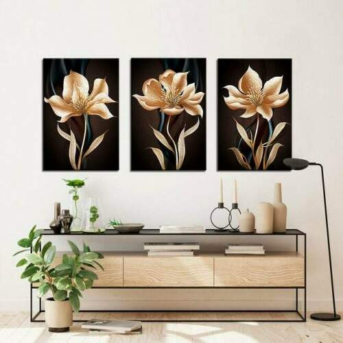 Quadro decorativo 3 telas Flores Gold